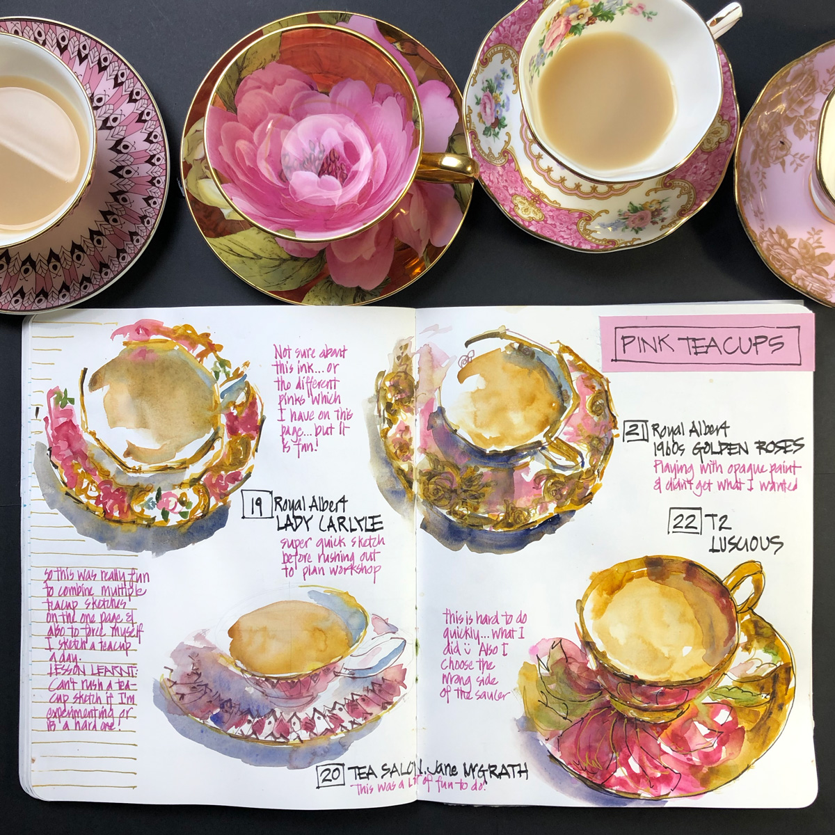 Pink teacups Liz Steel